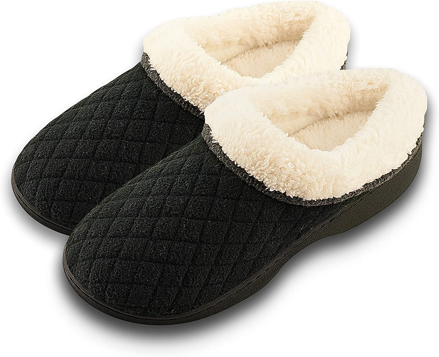 Roxoni Quilted & Stitched Memory Foam Slippers Warm Soft Fleece Lined Terry Clog Slip-On shoes, Anti-Slip Rubber Waterproof Sole Black