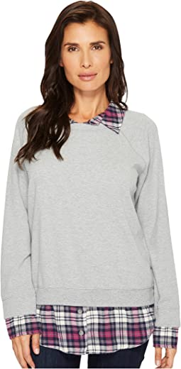 Sweatshirt with Plaid Contrast