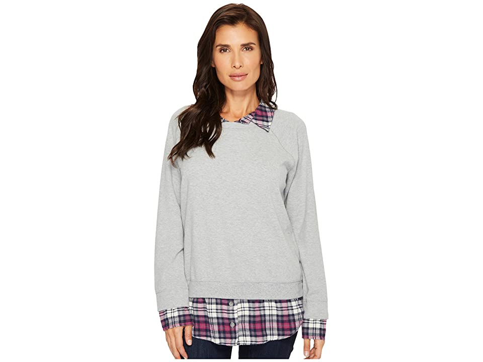 Mod-o-doc Sweatshirt with Plaid Contrast (Smoke Heather) Women