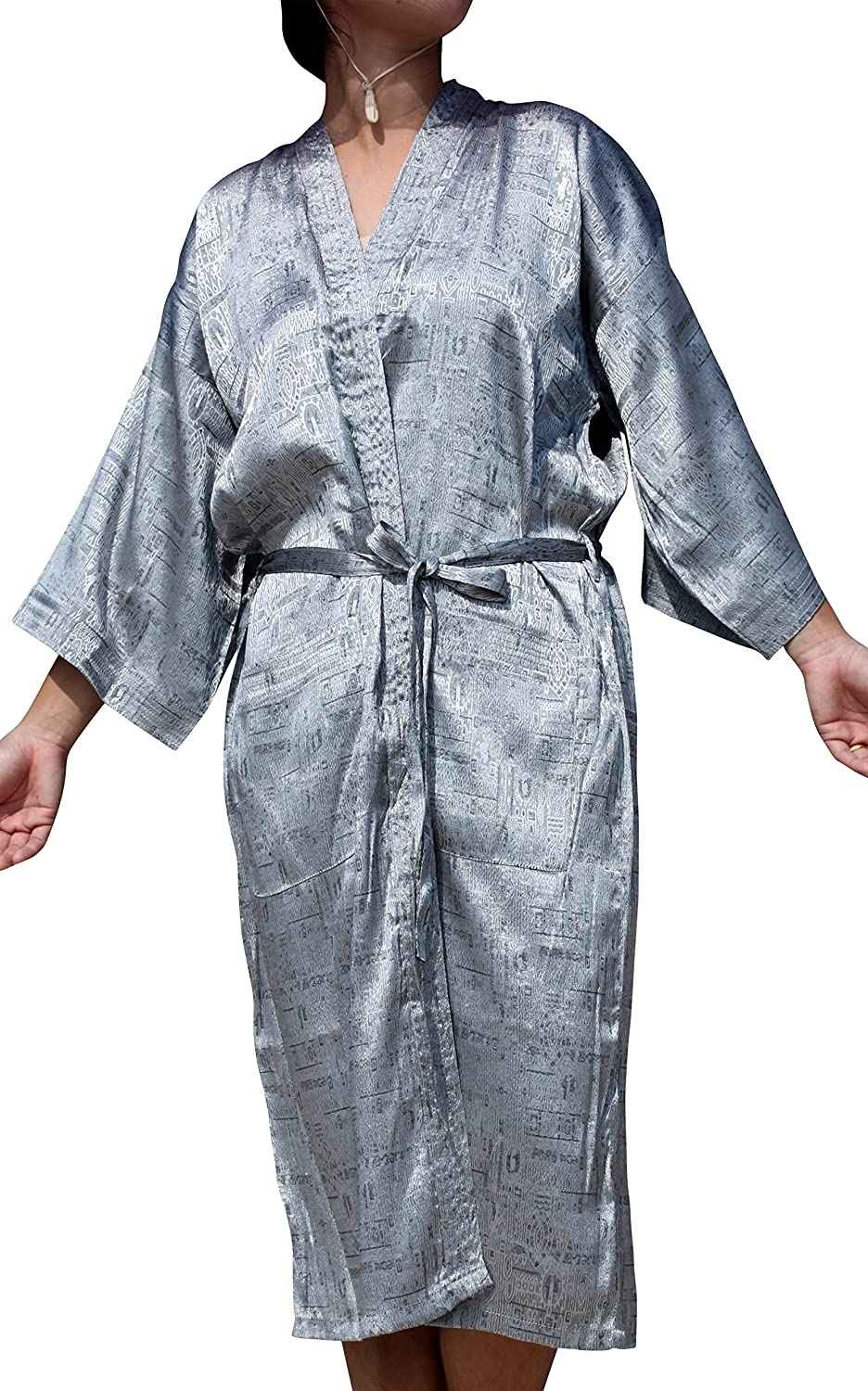 RaanPahMuang Thai Silk Lazy Sundays Night Gown Light Throwover Robe