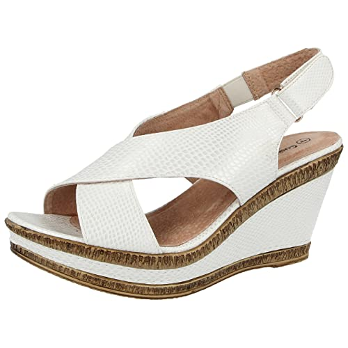 c8f66165d02 Ladies Cushion Walk Wide E Fit Leather Lined Wedge Peep Toe Strappy Summer  Sandal Size 3