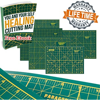 """Heavy Duty Double Sided Self Healing Cutting Mat for Sewing, Quilting & All DIY Crafts – Ergonomic & Robust Cutting Board for Wood, Paper, Fabric & More – with Grids & Angles – 11"""" x 8"""" – Green"""