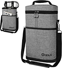 OPUX Insulated 2 Bottle Wine Tote Carrier   Padded Wine Cooler Bag for Travel Picnic BYOB   Portable Wine Bag with Shoulde...