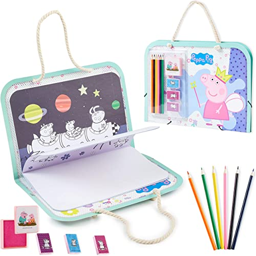 Peppa Pig Coloriage Enfant, Malette Coloriage avec Crayons De Couleurs, Gommettes Stickers, Tampons Et Carnet 50 Page...