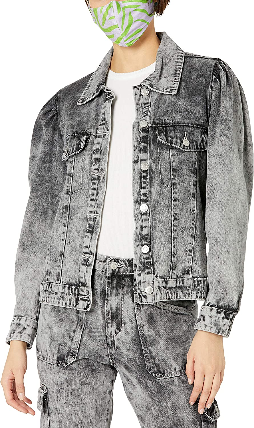 KENDALL + KYLIE Women's Puff Brand Cheap Sale Venue Sleeve Jacket Denim Amazon Exclus In a popularity -