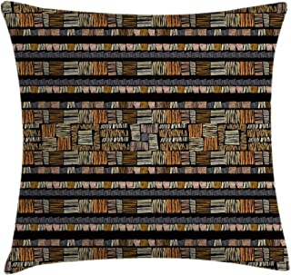 Ambesonne African Throw Pillow Cushion Cover by, Hand Drawn African Ethnic Pattern in Grunge Style Striped Design Print, Decorative Square Accent Pillow Case, 24 X 24 Inches, Pale Orange Gold Black