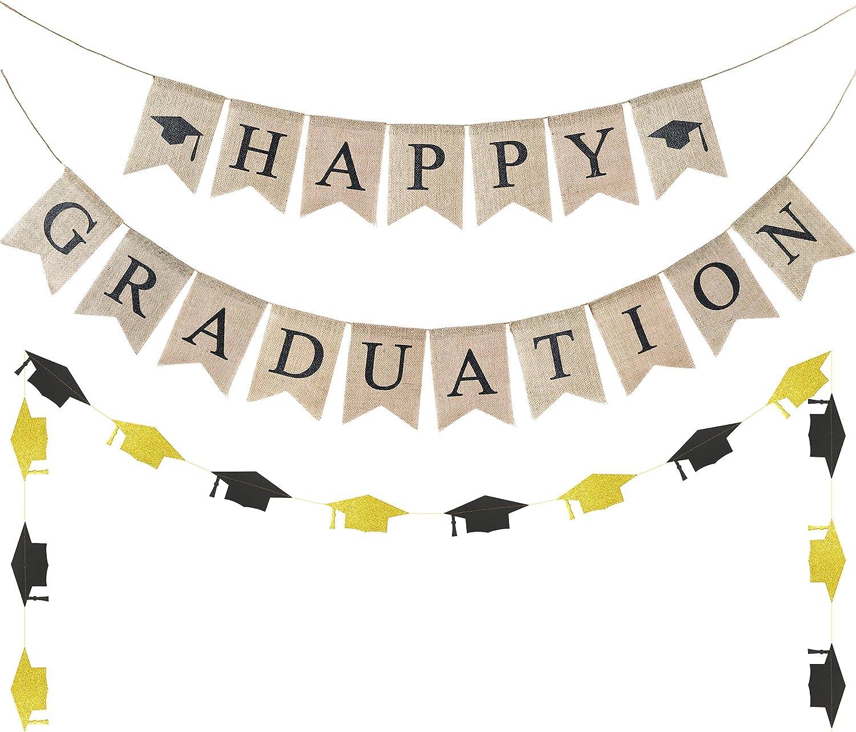 WATINC 3pcs Graduation Burlap Banner, Happy Graduation Banner and Glitter Grad Cap Garland for 2021 Graduation Decorations, Grad Party Favors Supplies, 2021 Graduation Home Decor for Mantle Fireplace