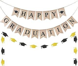 WATINC 3pcs Graduation Burlap Banner, Happy Graduation Banner and Glitter Grad Cap Garland for 2020 Graduation Decorations, Grad Party Favors Supplies, 2020 Graduation Home Decor for Mantle Fireplace