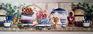 Country Shelf - Cups, Plates, Teapots, Ivy Wallpaper Border - CP033124B