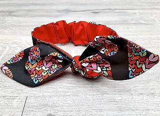 Valentine Headband, Reversible Headband, Cute Hair Accessory, Top Knot Headband, Hairband with Bow, Rockabilly, Trendy Hair Accessory