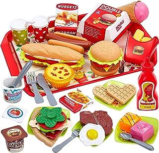 comprar comparacion Buyger 63 Piezas Cocina Alimentos de Juguete Bricolaje Cocinitas Comida Hamburguesa Bandeja Juguete Accesorios Cumpleaños ...