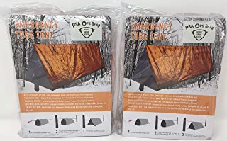 Emergency Shelter Tent (Twin Pack - Set of 2) Mylar Tube Tent for Survival + Paracord (each tent fits 2 adults)