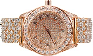 Mens Hip Hop Rose Gold Plated Iced Out Big Stone ICY Lab Created 1 Row Bezel with Big Round Stone Watch