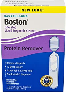 Bausch & Lomb Boston One Step Liquid Enzymatic Cleaner, Protein Remover, 0.01 Fl Oz (Pack of 12)