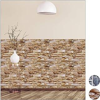 comprar comparacion relaxdays Paneles Pared Autoadhesivos, Pack de 5, Imitación Piedra 3D, Revestimiento Decorativo, PVC, 50 x 50 cm, Marrón, ...