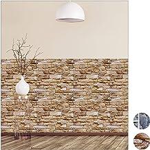 Relaxdays 3D-wandpanelen, zelfklevend, met decoratieve steen-look, pvc (polyvinylchloride), 50 x 50 cm, grijs