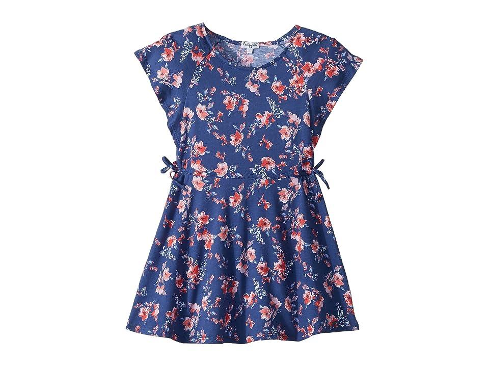Splendid Littles Floral Print Ruffle Dress (Toddler/Little Kids) (Indigo Fade) Girl