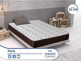 Imperial Confort Paris - Colchón Viscoelástico de fibras naturales - Transpirable y doble cara (invierno/verano) - Grosor 25 cm - 90x190