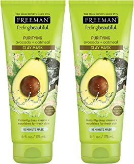 Freeman Feeling Beautiful Facial Clay Masque Avocado & Oatmeal 6 oz (Pack of 2)