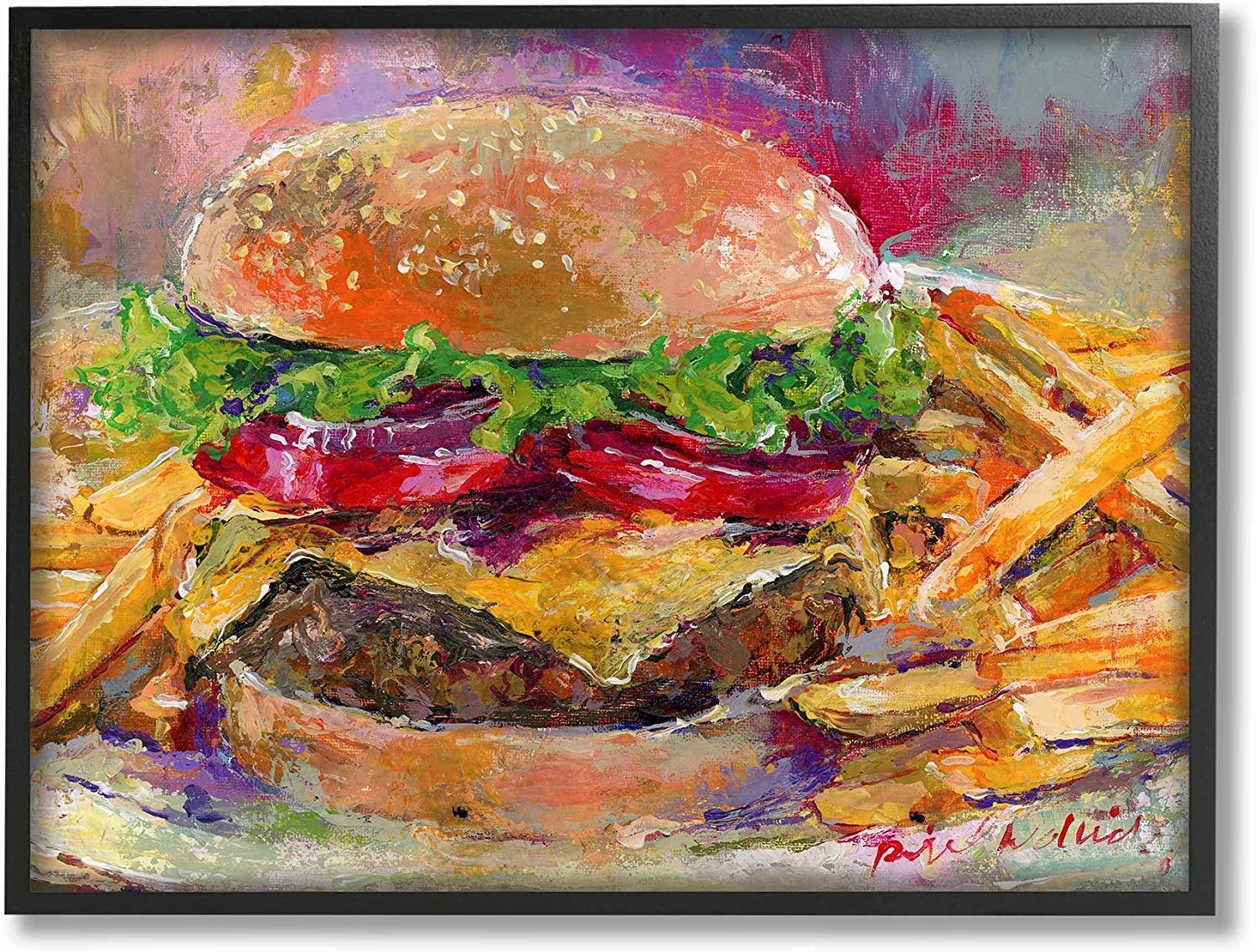 Stupell Industries Home Brightly colord Hamburger and Fries Still Life Food Painting Framed Giclee Texturized Art, Multi-color