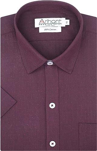 GHPC Self Design 100 Cotton Half Sleeves Regular Fit Formal Shirt for Men