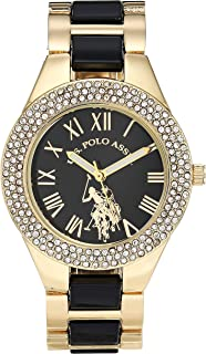 U.S. Polo Assn. Women's Quartz Watch with Alloy Strap, Black, 16 (Model: USC40249AZ)