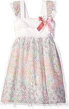 Bonnie Jean Girls' Sleeveless Lace to Mesh Over Chiffon Babydoll Dress