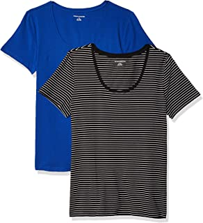 Amazon Essentials Women's 2-Pack Classic-Fit Short-Sleeve Scoopneck T-Shirt