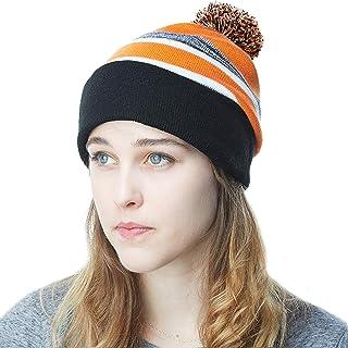 32897fef34 THE HAT DEPOT Winter Soft Unisex Cuff Pom Pom Stripe Knit Beanie Skull  Slouch Hat