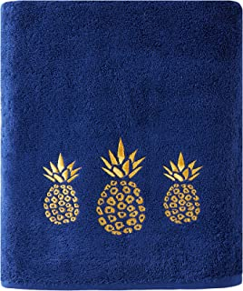 SKL Home by Saturday Knight Ltd. Gilded Pineapple Bath Towel, Navy