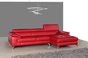 J and M Furniture A973B Italian Leather Mini Sectional Chaise in Red, Right Hand Facing