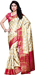 Mimosa Women's Traditional Art Silk Saree Kanjivaram Style With Blouse Color:Off White(3299-224-HWT-RNI)