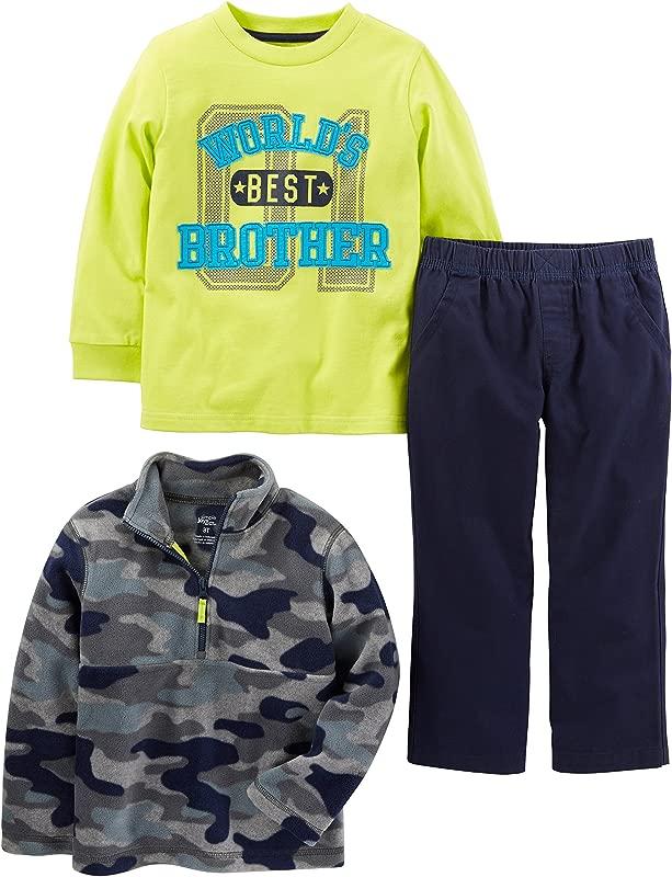 Simple Joys By Carter S Toddler Boys 3 Piece Fleece Jacket Long Sleeve Shirt And Woven Pant Playwear Set