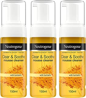 Neutrogena Clear and Soothe Mousse Cleanser, 5 Ounce (Pack of 3)