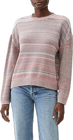 Minnie Marled Mix Stitch Crew Neck Pullover Sweater