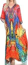 Sakkas Georgettina Flowy Rhinestone V Neck Long Caftan Dress/Cover Up