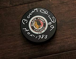 Bobby Hull HOF 1983 Chicago Blackhawks Signed Autographed Hockey Puck with JSA Certificate of Authenticity