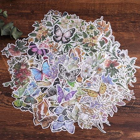 Autocollants de scrapbooking, autocollant de décoration de papier Lychii 240pcs avec plantes et fleurs naturelles, autocollants adhésifs de conception vintage pour scrapbooking artisanal, calendriers