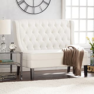 Southern Enterprises Linklea High Back Tufted Settee Bench - Elegant Classic Look - Buttercream