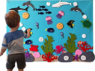 Felt Flannel Board Under The Sea Ocean Aquarium Fish Animals Deluxe Set Giant 3.5 Ft 50+ Pieces Wall Hanging Interactive Play Kit Story DIY Quiet Book No Magnets Needed Montessori Educational Teacher