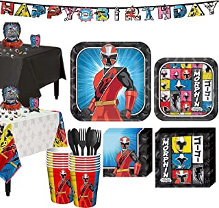 Party City Power Rangers Ninja Steel Tableware Party Supplies for 16 Guests, Include Plates, a Banner, and Decorations