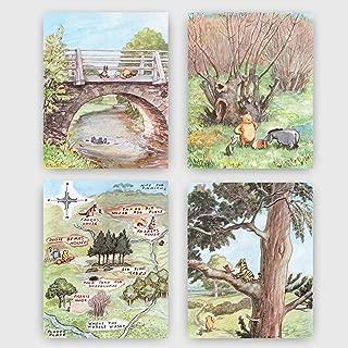 Classic Winnie the Pooh Art Prints (Baby Nursery Wall Decor) 8x10 Unframed, Set of 4