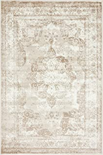 Traditional Persian Vintage Design Rug Beige Rug 4' x 6' FT (183cm x 122cm) Sofia Area Rug Inspired Overdyed Distressed Fancy