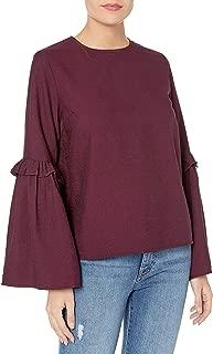 قميص نسائي Lucca Couture بأكمام قصيرة مكشكشة بتصميم ليلي