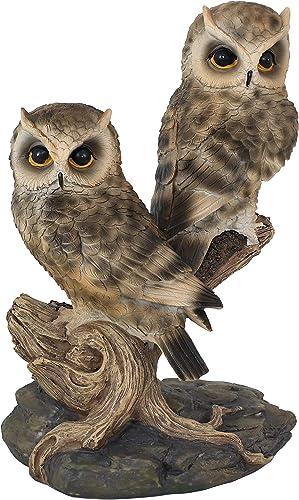 popular Sunnydaze popular Watchful Owls Garden Statue - Indoor/Outdoor Yard Art Decor - Birds Lawn Ornament - Backyard and 2021 Patio Animal Sculpture - Horned Owl Decoration - 13-Inch outlet online sale