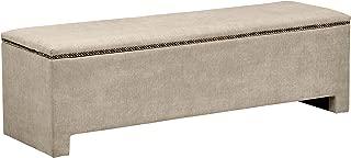 Rivet Modern Nailhead Upholstered Storage Bench, 58 Inch L, Natural