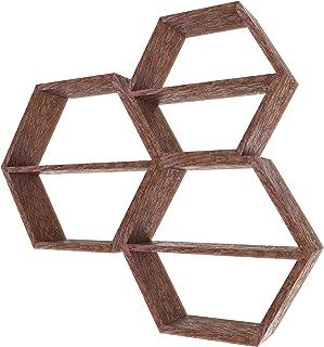 Comfify Estantes Flotantes Hexagonales Montados en Pared Rústicos Blancos - Juego de 3 - Grandes Medianos y Pequeños - Es...