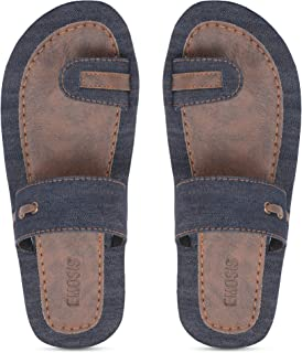 Emosis Men's Slipper Cum Sandal - Latest & Stylish Synthetic Leather - for Outdoor Formal Office Casual Ethnic Daily Use - Available in Blue Black Dnim Navy Color - 0405M
