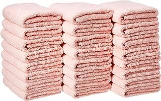 AmazonBasics Cotton Hand Towels - Pack of 24, Petal Pink