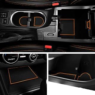 Custom Fit Cup Holder and Door Liner Accessories for 2018 2019 Subaru Impreza and Crosstrek 19-pc Set (Orange Trim)